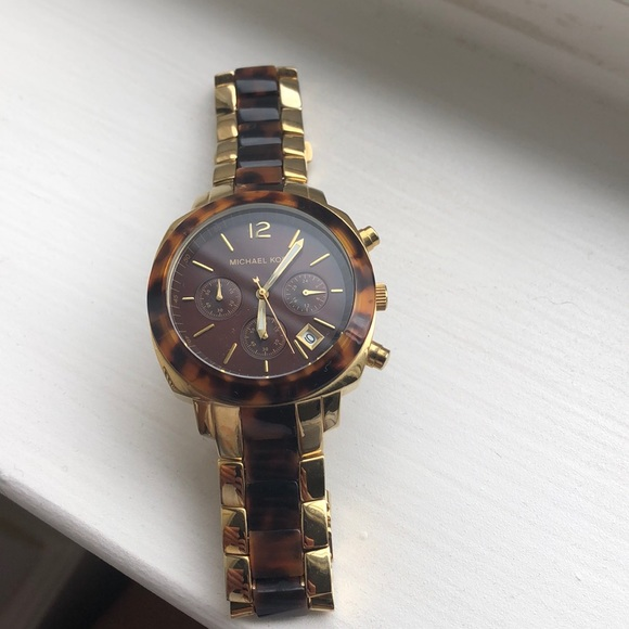 Gold and brown tortoise shell Michael Kors watch